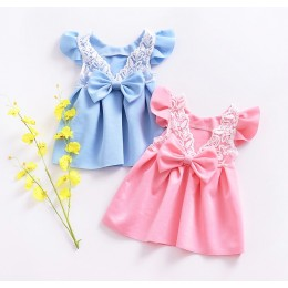 Ribbon Bareback Lace Baby Girl Dress