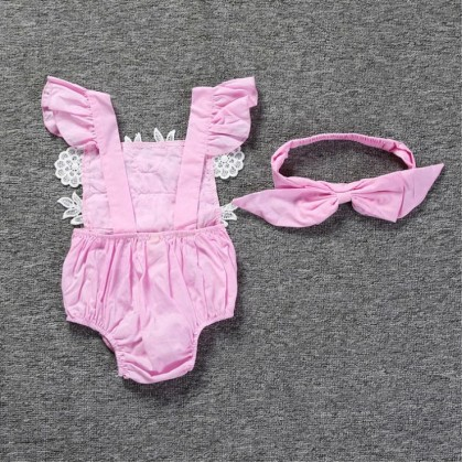 Baby Girl Lace Romper with Headband