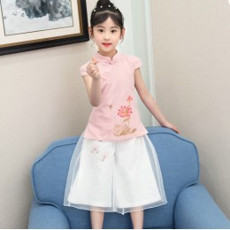 [CNY2019 Pre-Order] Kids Girl Lotus Flower Cheongsam Shirt + Pant 2 Pc Set